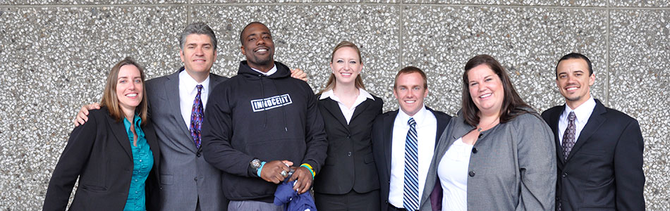California Innocence Project outside the courthouse with Brian Banks