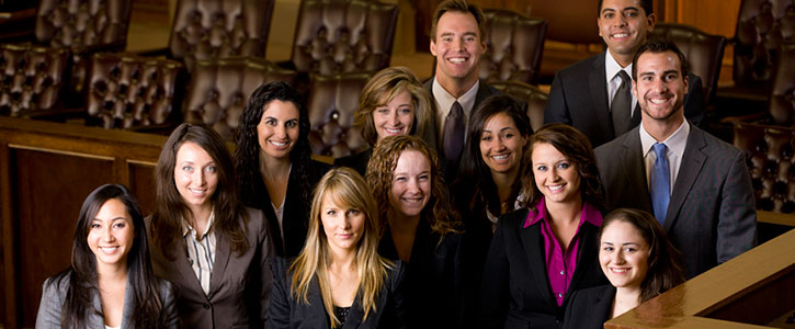 A group of students in the moot court room