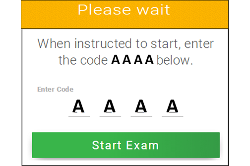 Fill in the four letter code, and click Start Exam
