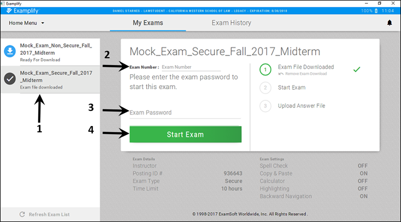 Select exam, enter exam number, enter password, click Start Exam.
