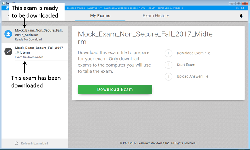 Examplify Start Screen:  Download exam files here
