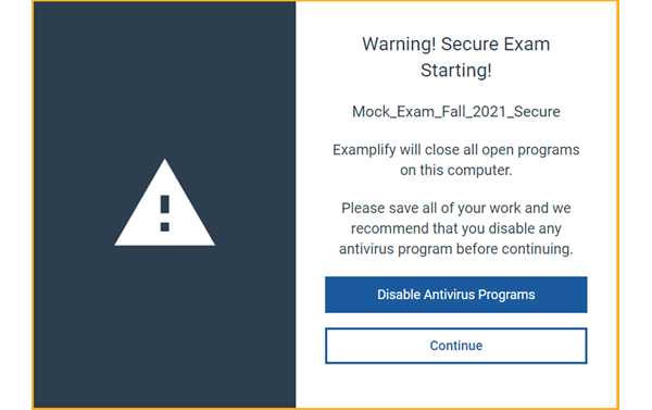 Secure Exam Starting