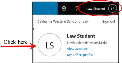 Click your name, then click the circle