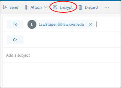 Click the Encrypt button to encrypt the email