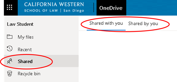 Click the 'Shared' button to see shared files