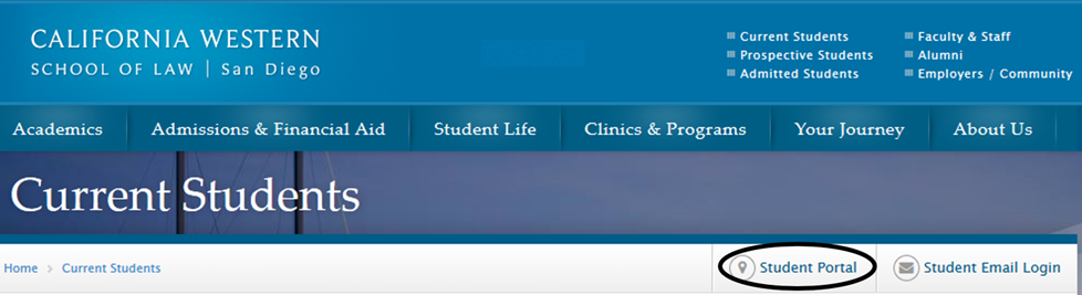 Click Student Portal link to go to the Student Portal