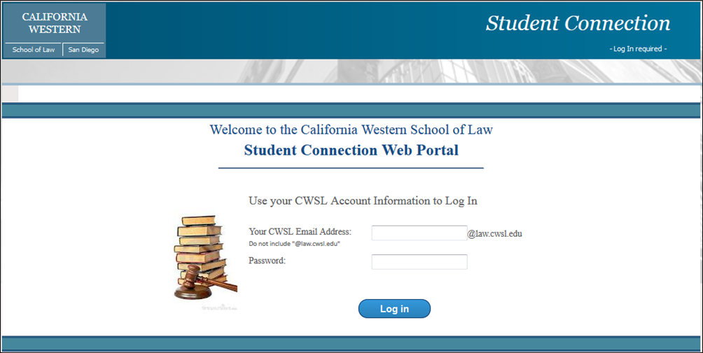 Log in to the Student Portal