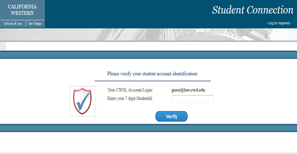 Enter Student ID number to complete login