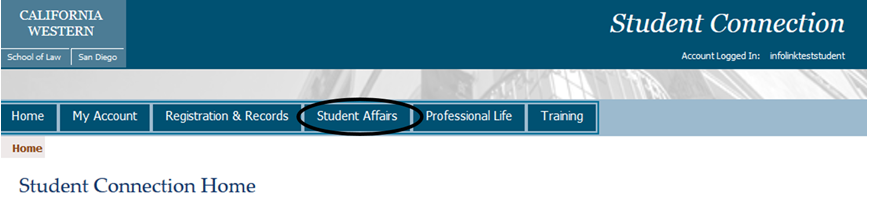 Click on the Student Affairs link near the top of the page