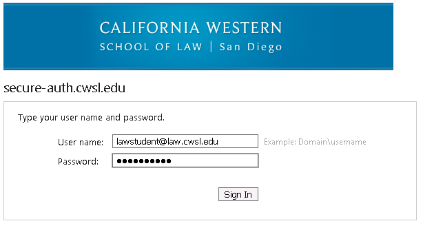 Login with your full CWSL email address
