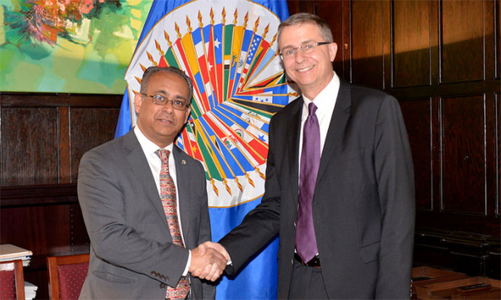 OAS Assistant Secretary General Albert Ramdin (Left) with California Western Dean and President Niels B. Schaumann