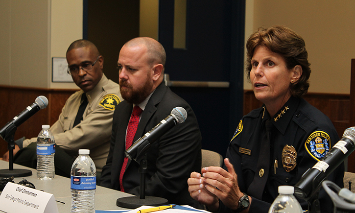 Sheriff's Lt. George Calderon, Alex Simpson of the California Innocence Project, San Diego Police Chief Shelley Zimmerman