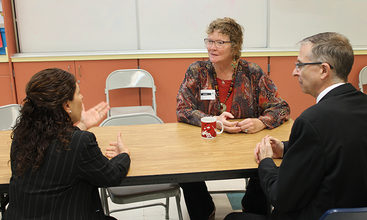 San Diego Councilwoman Marti Emerald (center) meets with Executive Director Dana Sisitsky (left) and Dean Niels Schaumann