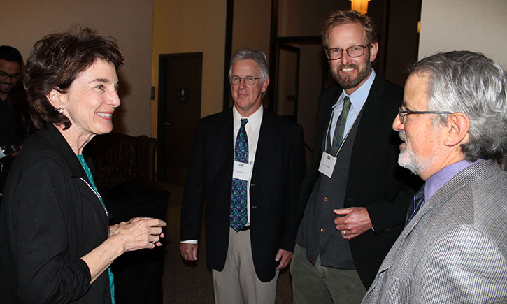 Associate Dean Linda Morton (left) with husband Leonard Bole, Professor Tim Casey and Professor Ken Klein at 10th Anniversary Celebration