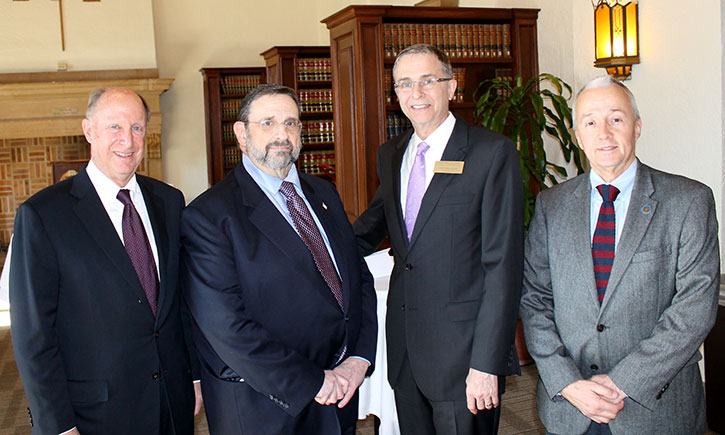 From left: California Western Board of Trustees Chairman Jeffrey D. Lewin '75, Harvey L. Pitt, President and Dean Niels B. Schaumann, Adjunct Professor William M. Aul '81