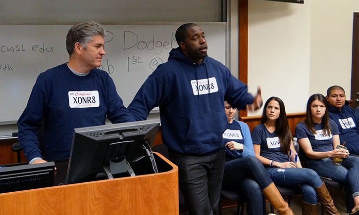 Brian Banks and Professor Justin Brooks speak to students