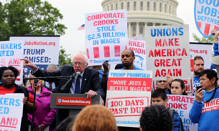 Union posters at a political rally