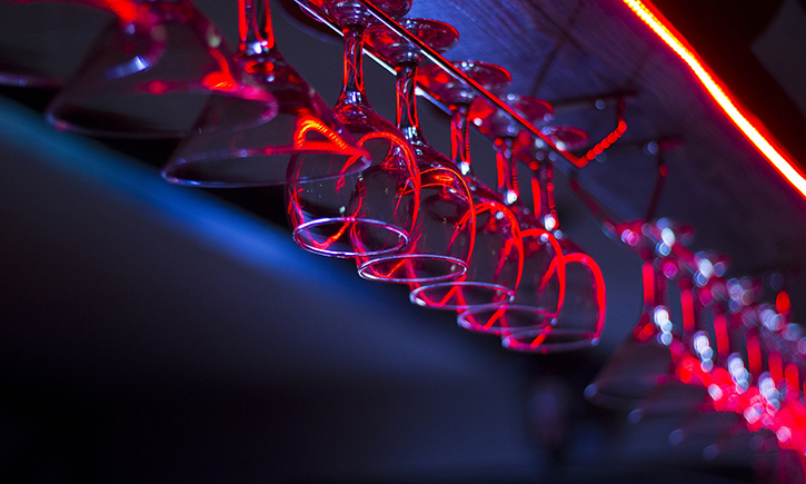 Image of glasses in a nightlife establishment