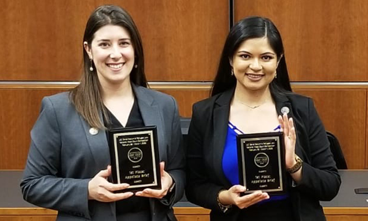 California Western Moot Court Honors Board Appellate Competition Team members Caitlin Van Voorst and Arlena Parmar