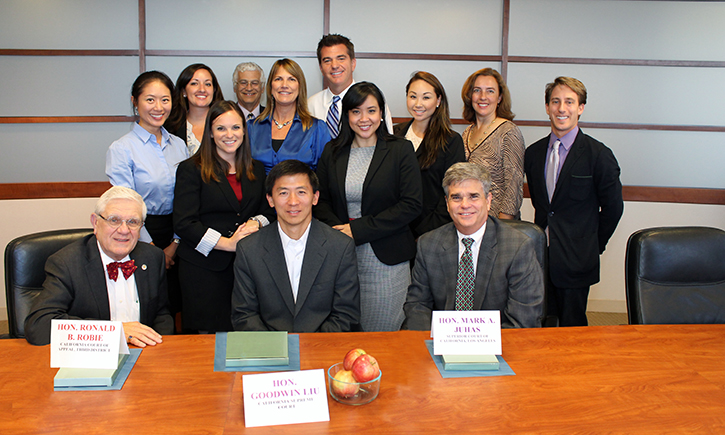ALI Staff with California Supreme Court Justice Goodwin Liu (C), Appeals Court Justice Ronald Robie (L) and Superior Court Judge Mark Juhas (R)