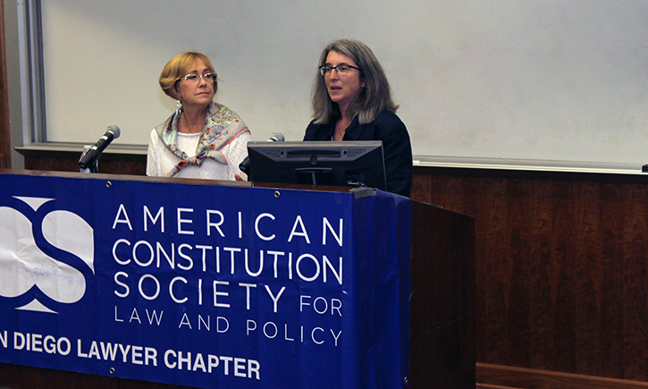 Cindy Cohn (right) Appearing at California Western School of Law