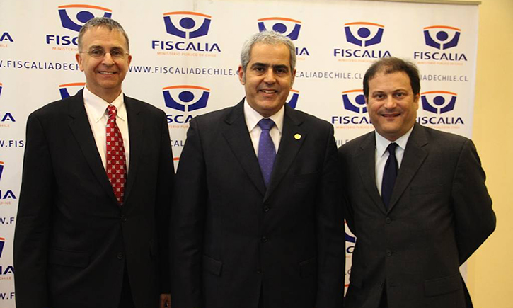 California Western President and Dean Niels B. Schaumann with Sabas Chahuán, Attorney General of Chile, and Professor James M. Cooper in Santiago, Chile
