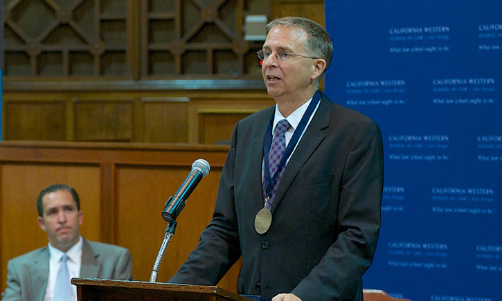 President and Dean Niels B. Schaumann addresses faculty, staff, trustees, and family during his installation ceremony on Friday, June 28
