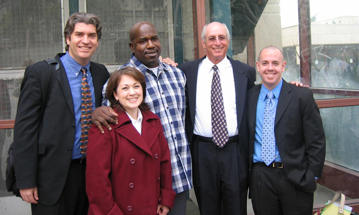 California Innocence Project attorneys Justin Brooks, Jan Stiglitz, and Alex Simpson, with attorney Wendy J. Koen '06 and exoneree Tim Atkins on the day he was released from prison in 2007