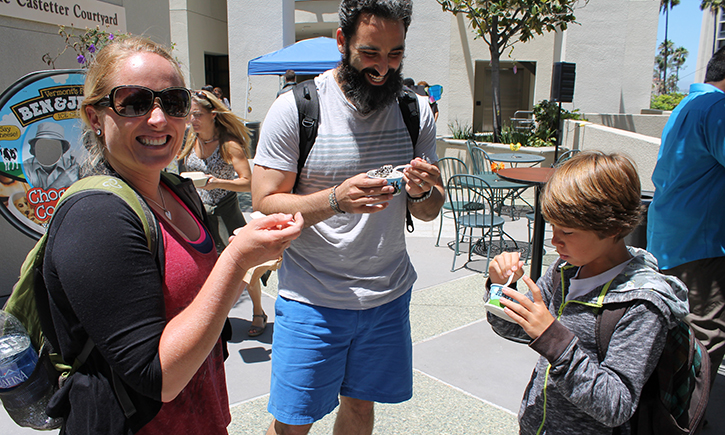 Students enjoy free Ben & Jerry's ice cream in the campus courtyard