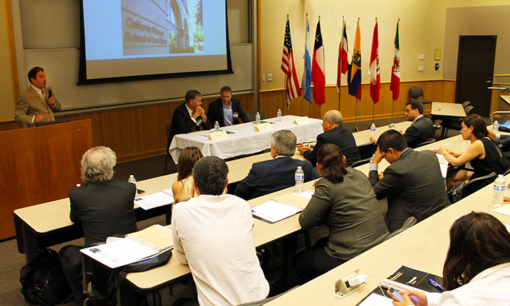 Professors Cooper, Brooks, Dean Schaumann welcome Latin American lawyers and judges