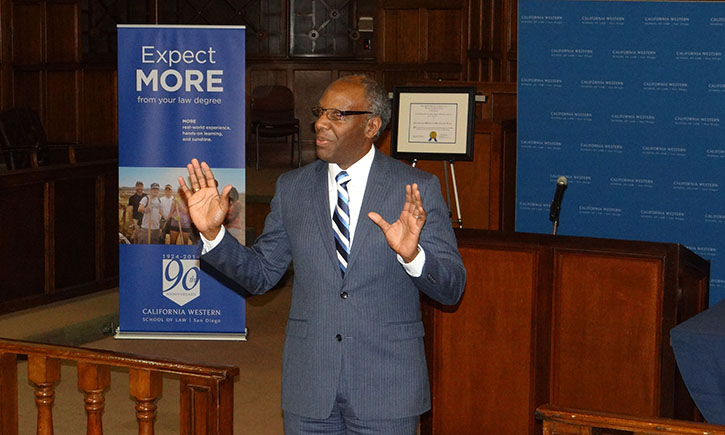 Superior Court Judge Michael D. Washington '94 inspired the students being inducted into the Pro Bono and Public Service Honors Societies with his keynote address
