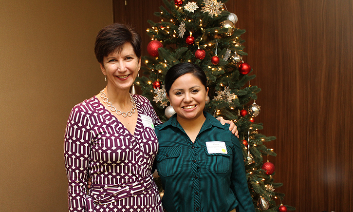 Assistant Dean Susan Finster and 3L Diana Rodriguez Agiss at the Lawyers Club Holiday Luncheon