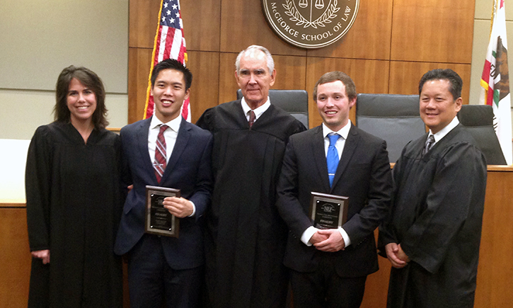 Grant Porter (2nd from left) and Matthew Hobson (2nd from right) with Thomas Tang Competition judges