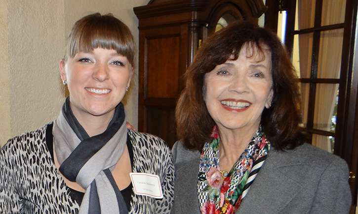 New first-year student Lyndsie Salsberry with Hon. Judith Haller '75
