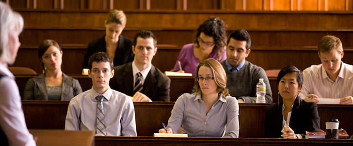 Students attending class in the moot court