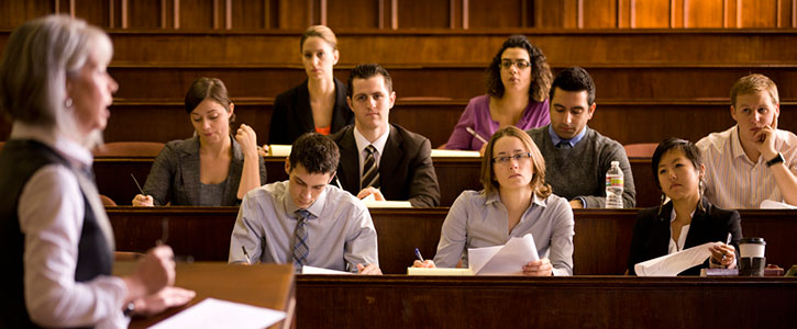 A lecture in the moot court room