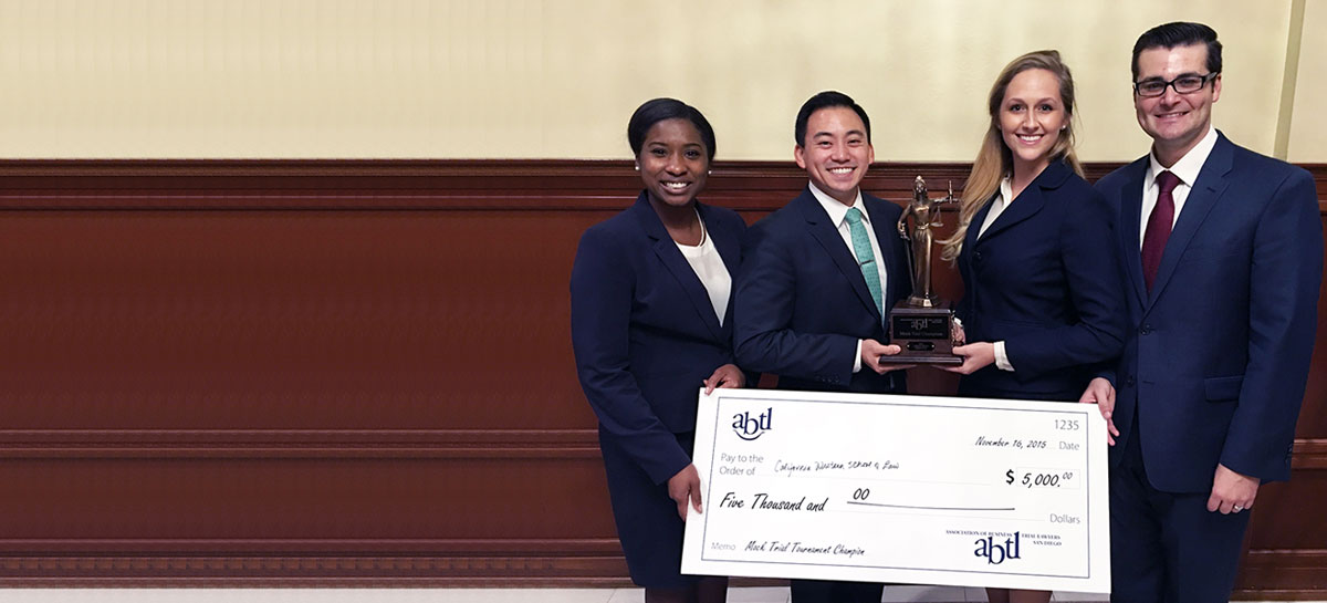 Association of Business Trial Lawyers Tournament winners Christopher J. Lee, Madelynn F. Woodhall, Taylor S. Williams, and Brent J. Griffith