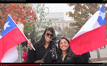 ILSP students holding flags