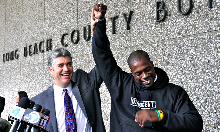 Justin Brooks (left) with Brian Banks on the day of his exoneration