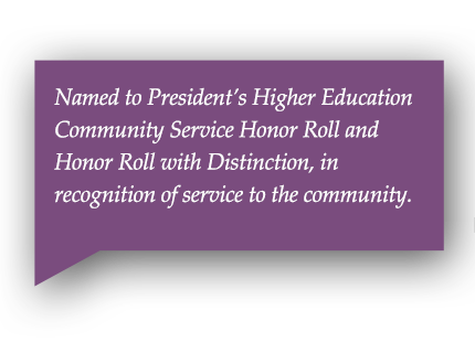 Named to President's Higher Education Community Service Honor Roll and Honor Roll with Distinction 2009-2014